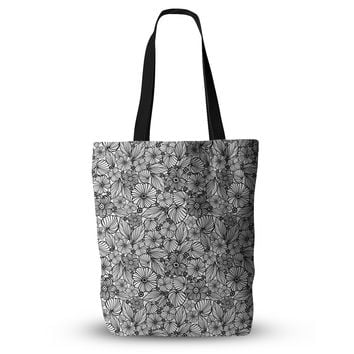 "Julia Grifol ""Candy Flowers In Black"" Gray White Everything Tote Bag"