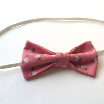 Small Vintage Fabric Bow Headband (Pink Floral) – Baby, Children, Adults
