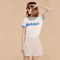 Color Trim Letter Printed Short Sleeves T-Shirt