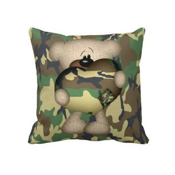 Military Teddy Bear With Giant Heart Throw Pillow from Zazzle.com