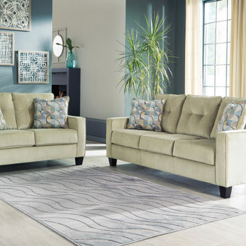 Ashley Furniture 69502-38-35 2 pc Bizzy collection meadow fabric upholstered sofa and love seat set with squared arms