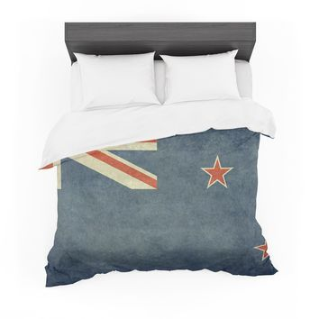"""Bruce Stanfield """"Flag of New Zealand"""" Blue Featherweight Duvet Cover"""