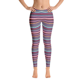 Colorful Pattern Pink Heart Leggings for Women - Stylish Durable Novelty Leggings - Cut, Sewn, and Printed in California