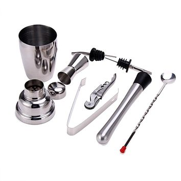 8Pcs 350ml Stainless Steel Cocktail Shaker Sets Bartender Home Bar Silver Kitchen Wine Tools