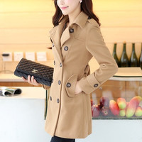 2015 New Women Trench Woolen Coat Winter Slim Double Breasted Overcoat Winter Lapel Coats Long Poncho Outerwear = 1956399748