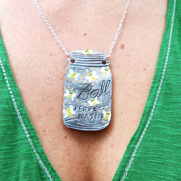 Mason Jar Necklace - Firefly's In A Jar - Hand Tooled Leather