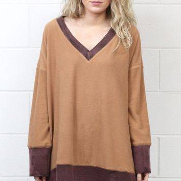 Oversized Color Block Fleece Tunic {Desert Sand}