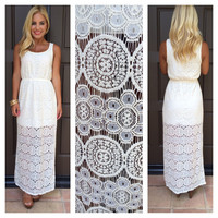 Amelia Antique Crochet Maxi Dress - CREAM