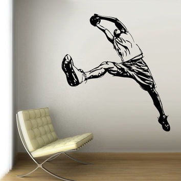 Wall Vinyl Sticker Decals Decor Art Bedroom Design Mural Modern Design LA Lakers Basketball Ball Sketch Sport Man Basket (z3106)
