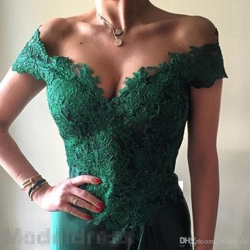 Robe De Soiree Emerald Green Lace Evening Dresses 2017 Off The Shoulder V Neck Backless High Slit Sa