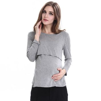 Long Sleeve Pregnancy Breast Feeding Maternity Nursing Tops For Feeding Clothes For Pregnant Women Tee Shirts Mother Wear
