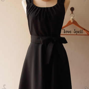 Black Skater Dress, Black Vintage Style Bridesmaid Dress, Little Black Dress, Black Long Dress, Pockets Dress, Cocktail - LOVE SPELL -custom