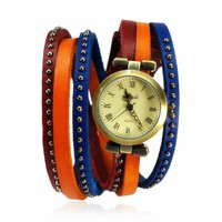 Bade Vintage Multicolored Rivet Multi-wraps Watch