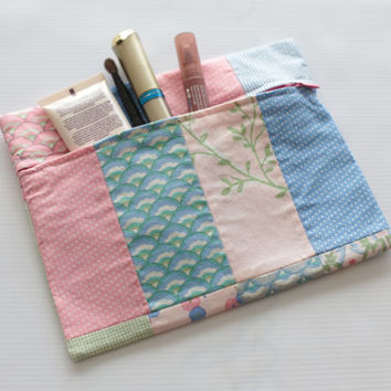 Make up bag. Zipper bag. Pouch. Cosmetic bag. Cotton fabric with flowers and polka dots. Blue, pink and green. Ready to ship