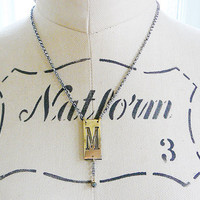 M Initial Pendant Necklace Sterling Oxidized Silver Chain antique letter monogram pyrite gemstone dangle