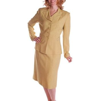 Vintage Ladies Chartreuse Gab Suit 1940S Pencil Skirt 1940S