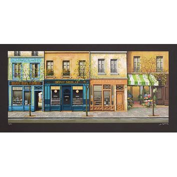 Boutiques de Paris - Limited Edition Serigraph on Paper by Andre Renoux (1939-2002)