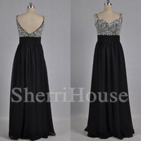 Sequins Sweetheart Strapless V-Back A-Line Long Bridesmaid Celebrity dress ,Floor length Chiffon Evening Party Prom Dress Homecoming Dress