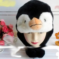 Penguin Face Faux Fur Mascot Pilot Animal Cap/Hat with Ear Flaps and Poms