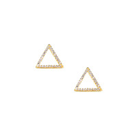 Pave Triangle Earrings in Gold