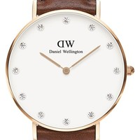 Women's Daniel Wellington 'Classy St. Mawes' Crystal Index Leather Strap Watch, 34mm