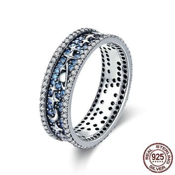 Sparkling Eternal Galaxy Sterling Silver Ring