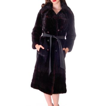 Black Ranch  Mink Trench Coat Zip Off Bottom Makes Stole S FREE MINK HAT