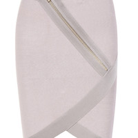 Clothing : Skirts : 'Farrell' Taupe Bandage Skirt with Oversized Zipper