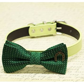 Dark Green with Dots Dog Bow tie collar, birthday gift, Pet wedding, Charm (Horseshoe Good Luck), Puppy Love