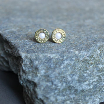 Bullet earrings, bullet jewelry, 223, pearl birthstone, pearl stud earrings, rustic bridesmaid gift, rustic wedding, country wedding, hunter