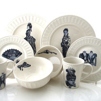 Penny Dreadful dinnerware set six place settings 24 pieces total ready to ship