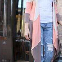 Block Ruffle Asymmetrical Long Cardigan