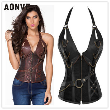 Waist Trainer Slimming Body Shaper Leather Corest Steampunk Hot Shapers 4 Steel Boned Women Front Zipper Fajas Fajas Reductoras