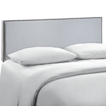 Region Queen Nailhead Upholstered Headboard in Gray