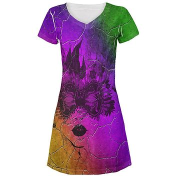 Mardi Gras Party Mask Distressed Grunge Flag All Over Juniors Beach Cover-Up Dress
