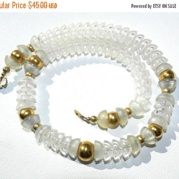 CLOSE OUT SALE-) Napier Signed Beaded Necklace, Clear Lucite Gold Tone, Mod Geometric Necklace, 80s Vintage Jewelry