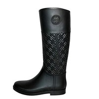Tory Burch Marion Quilted Rainboot Boots Rain Shoes 50696 Perfect Black