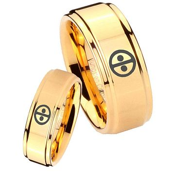 His Her Glossy Step Edges Dead Pool 14K Gold IP Tungsten Wedding Rings Set