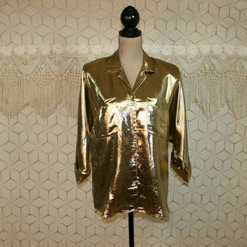 Vintage 80s Metallic Gold Blouse Disco Shirt Dolman Sleeve Top Hipster Gold Lame Womens Blouses Vintage Blouse 80s Clothing Vintage Clothing