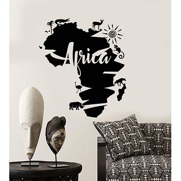 Vinyl Wall Decal Abstract Africa Continent Map African Animals Stickers (2859ig)