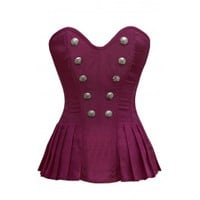 ND-120 - Pleated Purple Tone Corset with Button Detail