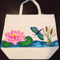 Hand Painted Waterlily and Dragonfly Tote Bag
