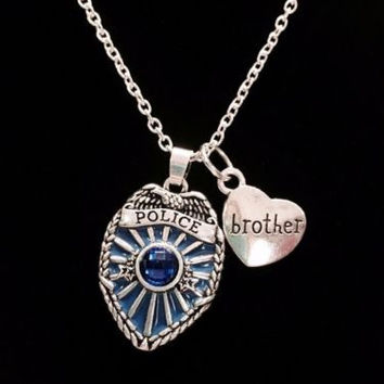 Blue Police Shield Badge Brother Heart Gift For Officer Charm Necklace