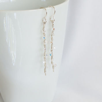 Long Swarovski Crystal AB Earrings, Silver and Crystal Long Dangle Earrings, Swarovski Wire Wrapped Earrings