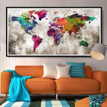 Extra LARGE World Map Art Poster Print Watercolor Map World Push Pin Travel cities Wall Watercolor decor Home - L69