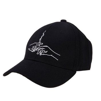 DCCKFS2 Cotton Baseball Caps Hands Smoking Embroidery Cap Men Women Customer Design 2018 Brand Hat Black Cap Casquette Dad Hats