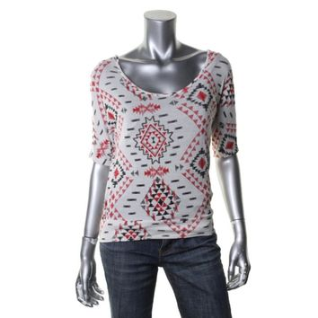 Rebellious One Womens Juniors Aztec Print Open Back Pullover Top