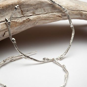 Elvish twig hoops, sterling silver hoop earrings - organic elven forrest branch - RedSofa jewelry