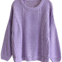 ROMWE | Batwing Sleeves Cable Knit Cut-out Purple Jumper, The Latest Street Fashion