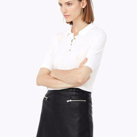 Black Faux Leather Mini Elastic Waist Skirt